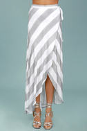 Golden Sunset Grey and White Striped Wrap Maxi Skirt 2