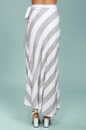 Golden Sunset Grey and White Striped Wrap Maxi Skirt 3