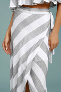 Golden Sunset Grey and White Striped Wrap Maxi Skirt 4