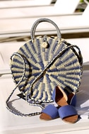 High Moon Navy Blue and Beige Woven Tote 1