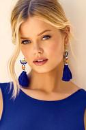 Shashi Delaney Blue Tassel Earrings 3