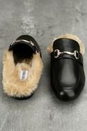 Steve Madden Jill Black Leather Faux Fur Loafer Slides 2