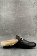 Steve Madden Jill Black Leather Faux Fur Loafer Slides 3