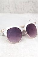 Romantic Reason Gold and White Sunglasses 1