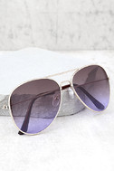 Afternoon Attraction Gold and Purple Aviator Sunglasses 1