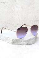 Afternoon Attraction Gold and Purple Aviator Sunglasses 2