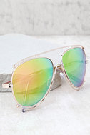 Hot Springs Gold and Pink Mirrored Aviator Sunglasses 1