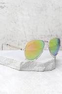 Hot Springs Gold and Pink Mirrored Aviator Sunglasses 2