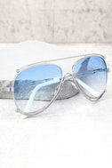Hot Springs Silver and Light Blue Aviator Sunglasses 1