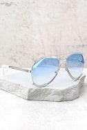 Hot Springs Silver and Light Blue Aviator Sunglasses 2