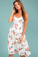 BB Dakota Lila White Floral Print Midi Dress 1