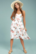 BB Dakota Lila White Floral Print Midi Dress 2