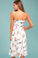 BB Dakota Lila White Floral Print Midi Dress 3