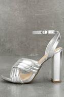 Genevieve Silver Ankle Strap Heels 1