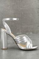 Genevieve Silver Ankle Strap Heels 3