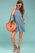 PPLA Off the Grid Denim Blue Print Dress 2