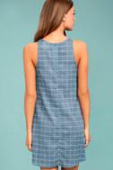 PPLA Off the Grid Denim Blue Print Dress 3