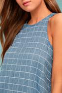 PPLA Off the Grid Denim Blue Print Dress 4