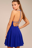 Adore You Royal Blue Pearl Skater Dress 1