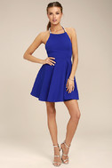 Adore You Royal Blue Pearl Skater Dress 2