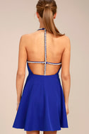 Adore You Royal Blue Pearl Skater Dress 3