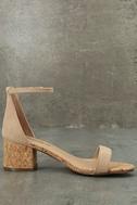 June Natural Cork Ankle Strap Heels 4
