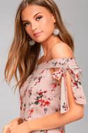 Lost + Wander Serra Blush Pink Floral Print Crop Top 2