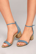 June Blue Denim Cork Ankle Strap Heels 2