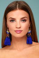 Shashi Delaney Blue Tassel Earrings 1