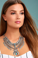 Entranced by You Turquoise and Silver Layered Statement Necklace 1