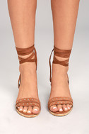 Mi.im Plush Brown Suede Lace-Up Heels 2