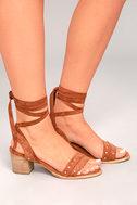 Mi.im Plush Brown Suede Lace-Up Heels 3