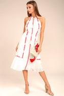 When You Smile White Embroidered Midi Dress 1