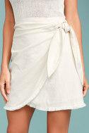 Marguerite White Mini Wrap Skirt 4