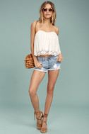 Road Map Light Wash Distressed Cutoff Denim Shorts 3