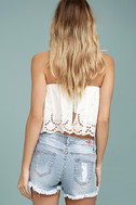 Road Map Light Wash Distressed Cutoff Denim Shorts 4
