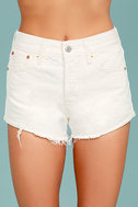 Levi's� Wedgie Fit Off-White Distressed Denim Shorts 4