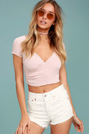 Levi's� Wedgie Fit Off-White Distressed Denim Shorts 1