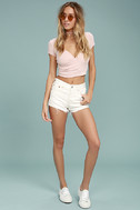 Levi's� Wedgie Fit Off-White Distressed Denim Shorts 2