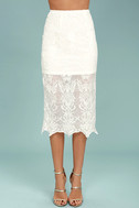 Swoon For You White Lace Midi Skirt 2