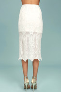 Swoon For You White Lace Midi Skirt 3