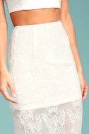 Swoon For You White Lace Midi Skirt 4