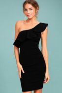 Life is But a Dream Black One-Shoulder Bodycon Dress 1