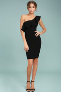 Life is But a Dream Black One-Shoulder Bodycon Dress 2