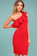 Life is But a Dream Red One-Shoulder Bodycon Dress 1
