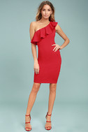 Life is But a Dream Red One-Shoulder Bodycon Dress 2