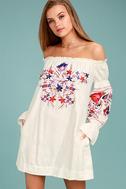 Free People Fleur Du Jour Cream Embroidered Dress 1