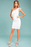 Life is But a Dream White One-Shoulder Bodycon Dress 1