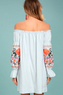 Free People Fleur Du Jour Light Blue Embroidered Dress 3