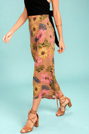 Billabong Can It Be Light Brown Floral Print Culottes 2